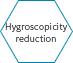 Hygroscopicity reduction